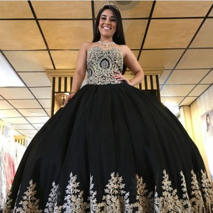 black prom dress,ball gowns prom dr..