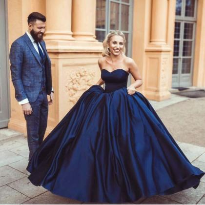Royal Blue Wedding Dress Taffeta We