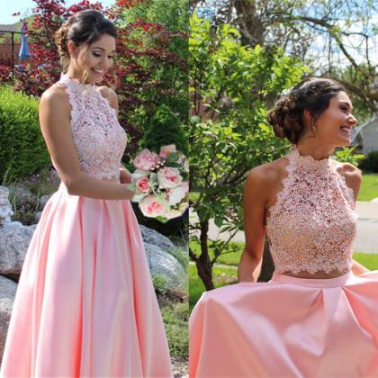 pink prom dresses,two piece prom dr..