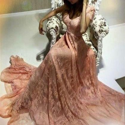peach lace prom dress,elegant prom ..