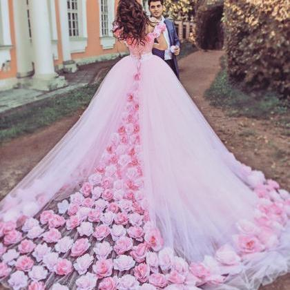Rose Flower Wedding Dresses,pink Wedding Dress,ball Gown Wedding ...