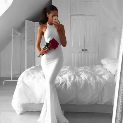 white prom dress,long mermaid dress..