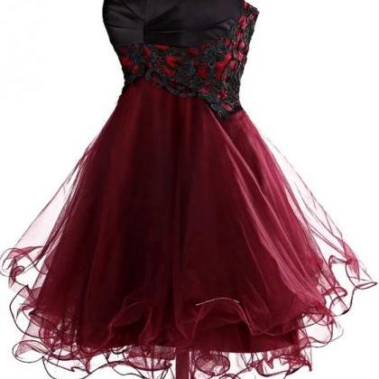 burgundy prom dress,short prom dres..