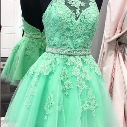 halter homecoming dress,tulle homec..