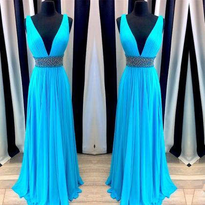 v neck prom dresses,blue prom gowns..