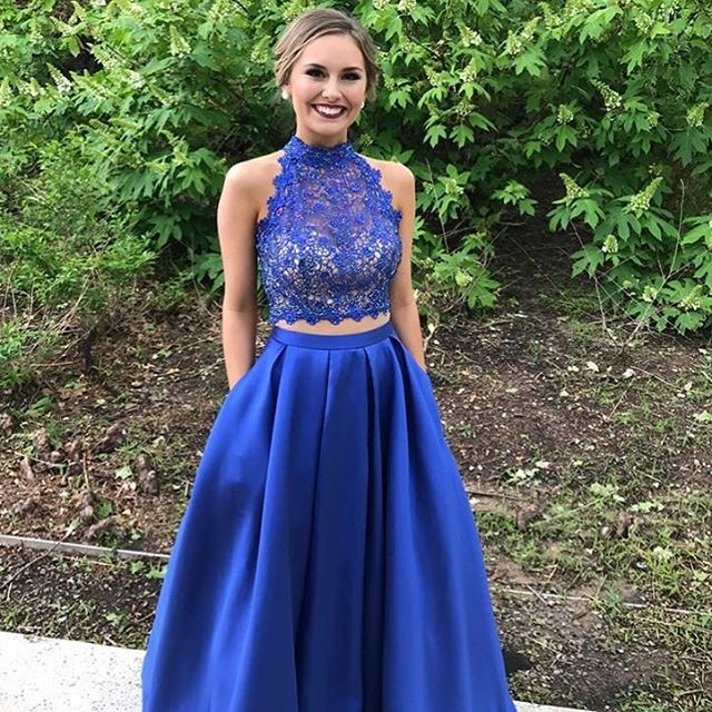 royal blue prom dresses,elegant prom dresses,two piece prom dresses,backless prom gowns,sexy prom dresses