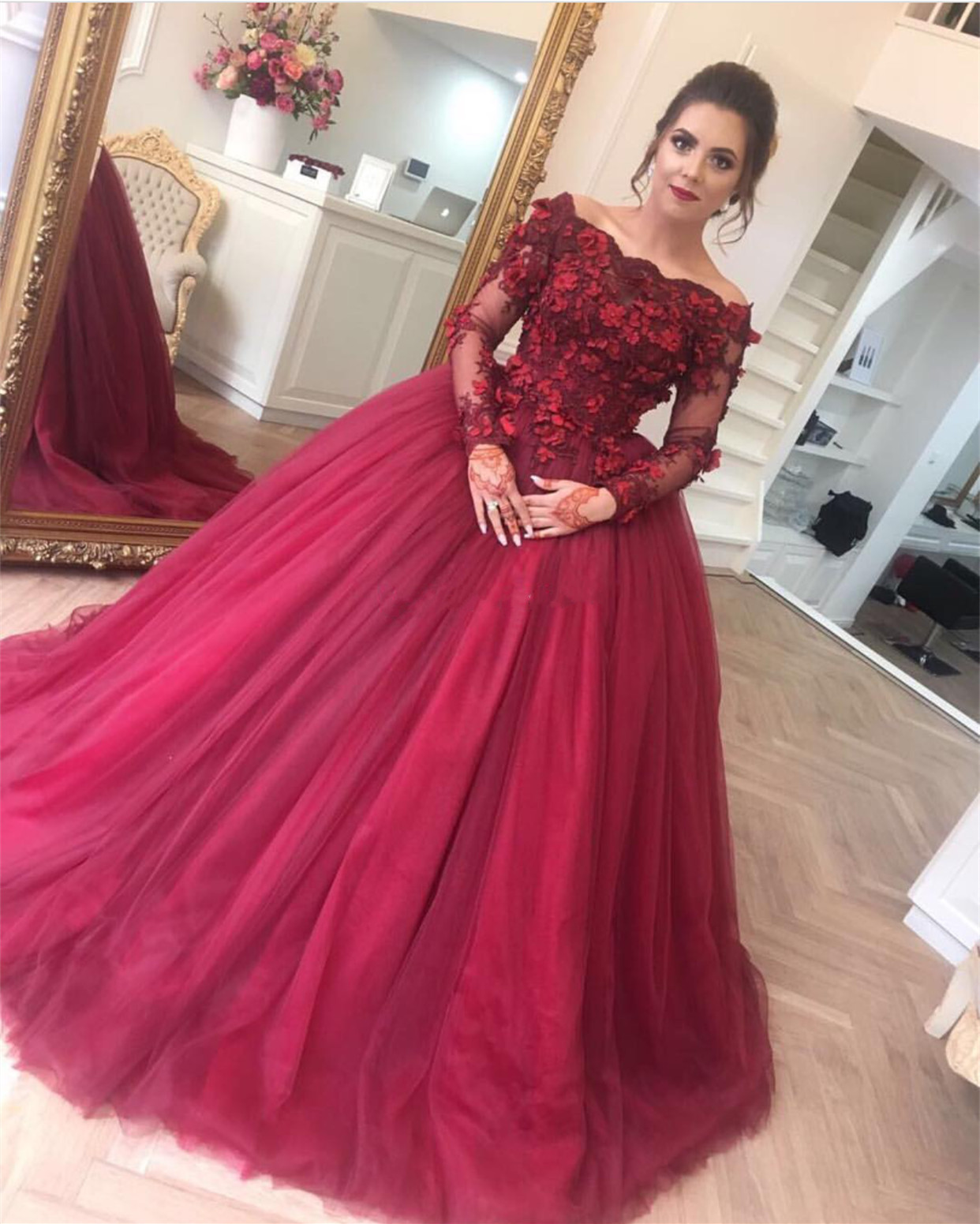 Long Sleeves Prom Dress,ball Gowns Prom Dress,burgundy