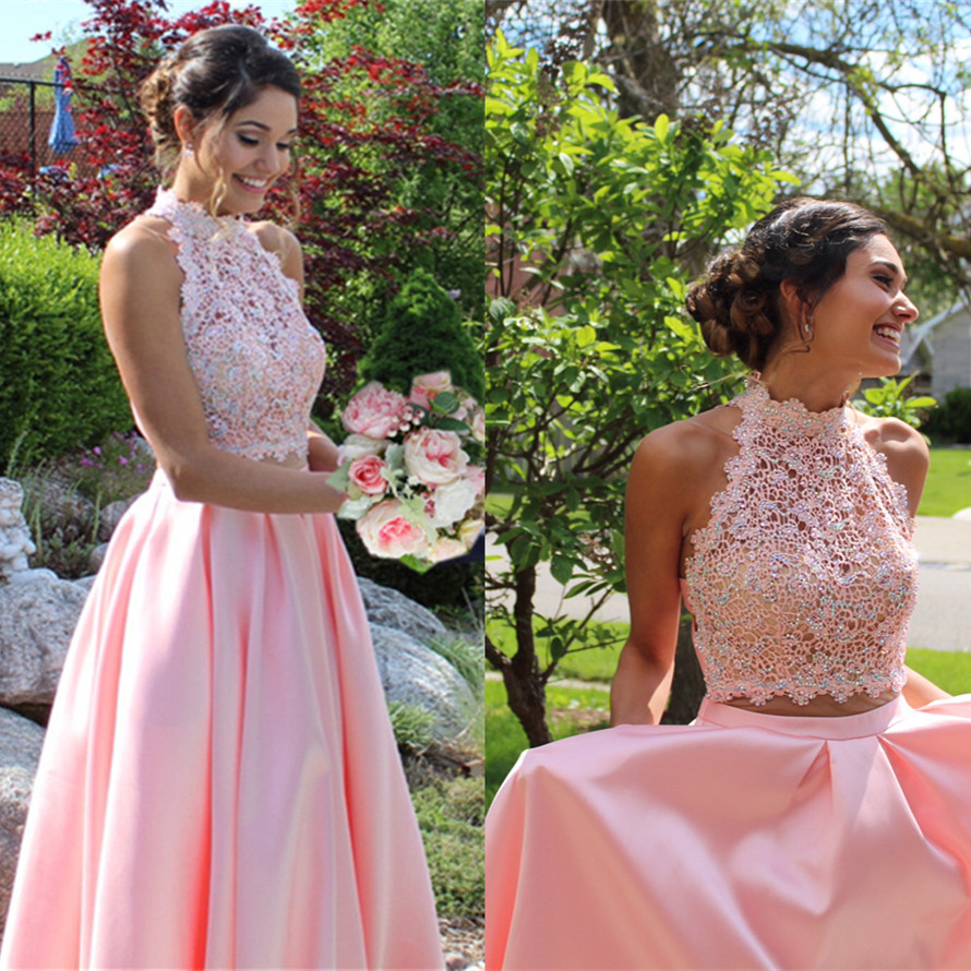 pink prom dresses,two piece prom dress, 2 piece prom dress,long prom gowns 2017,open back prom gowns