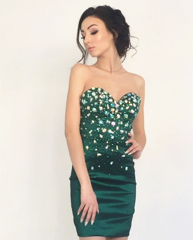 Emerald Green Homecoming Dressessheath Cocktail Dressshort Prom