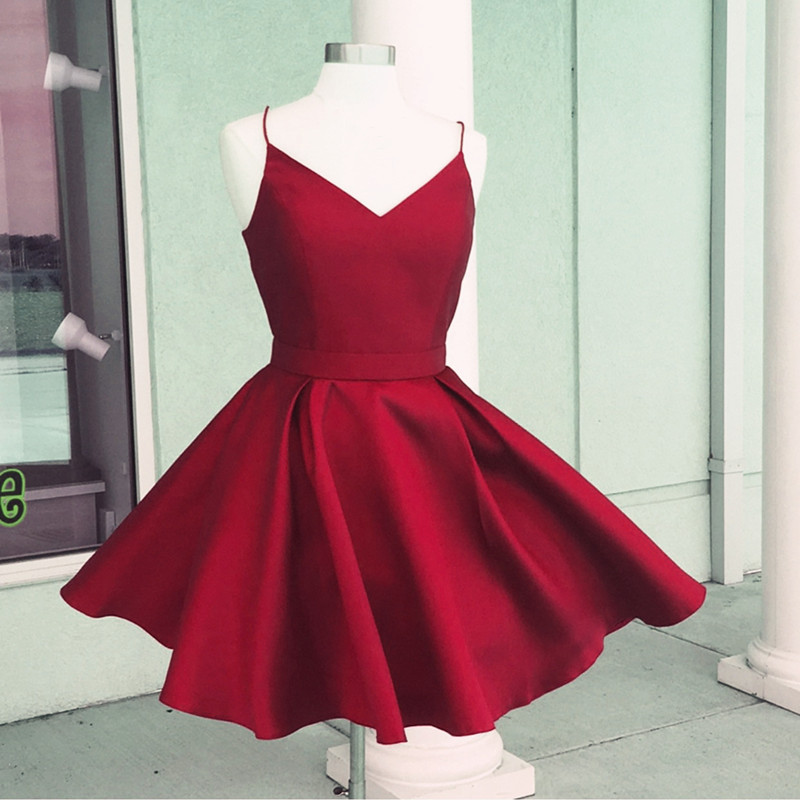Cute Prom Dress,V Neck Homecoming Dress,Burgundy