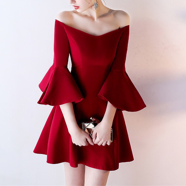 Off Shoulder Party Dress Burgundy Bridesmaid Short 3 4