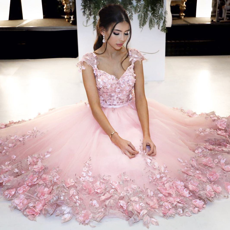 Pink Ball Gowns Flower Dress Cap Sleeves Homecoming Short Prom Dresses