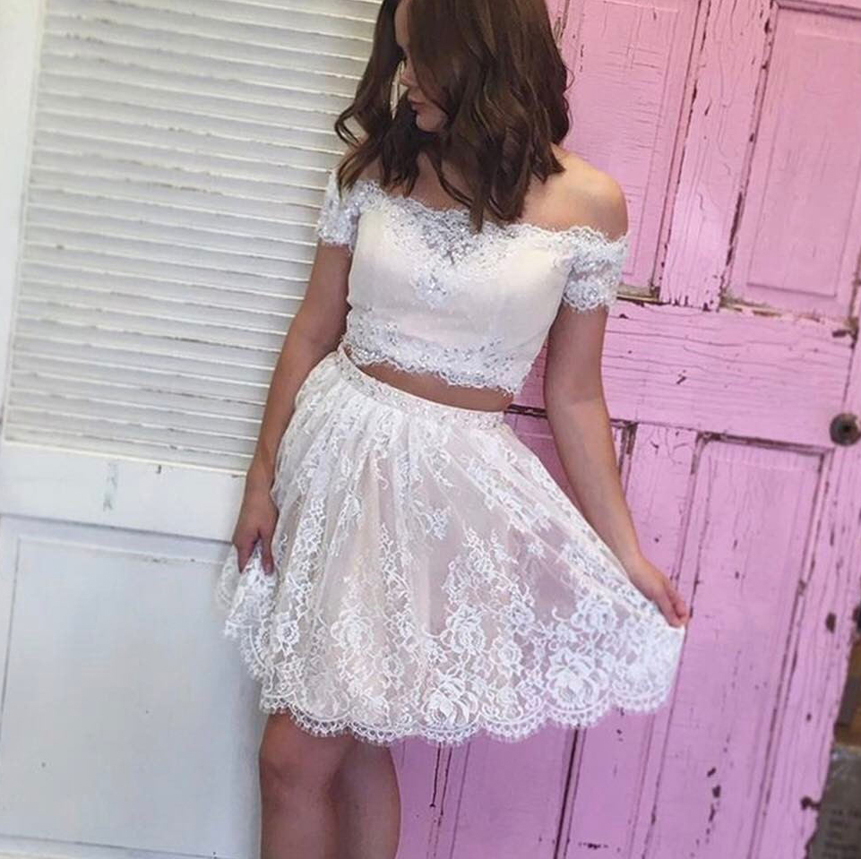 ivory homecoming dresses,two piece homecoming dresses,elegant prom dress,semi formal dress
