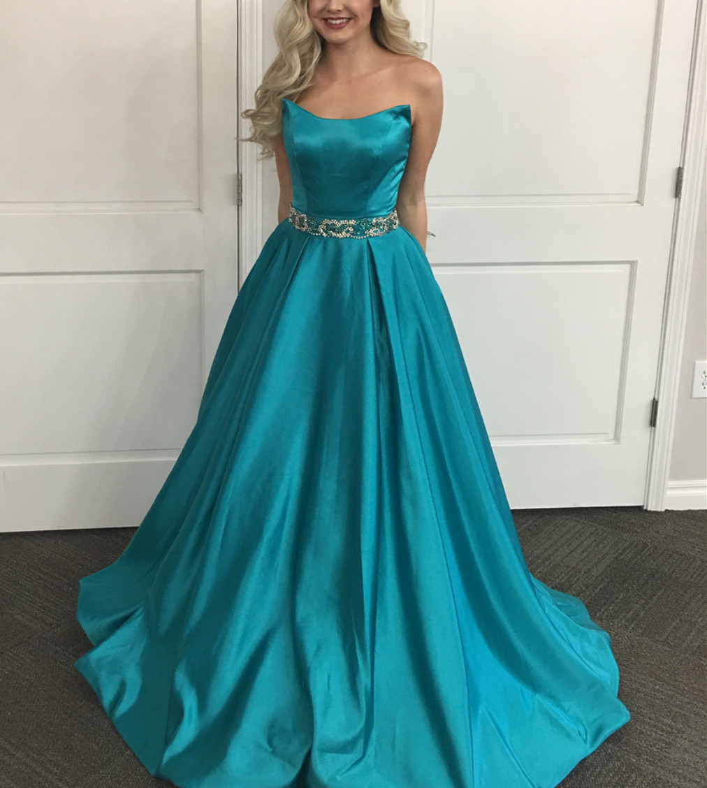Teal Green Prom Dress,long Evening Gowns,long Prom Dress,strapless ...