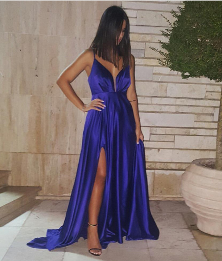 maxi evening dress,satin prom dress,satin bridesmaid dress,slit prom dress,purple prom dress