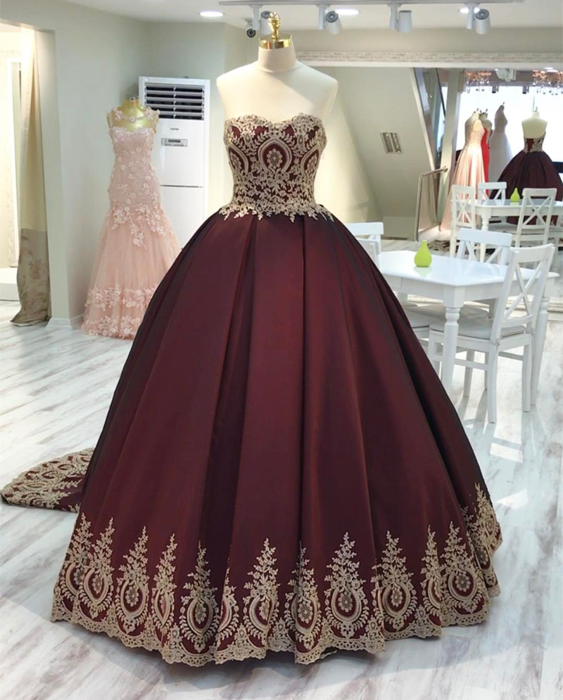 Wine red wedding dress burgundy wedding gowns ball gown for Burgundy and gold wedding dress