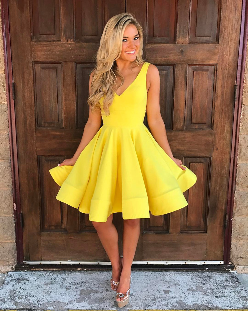 Yellow Homecoming Dress,V Neck Prom Dress,Swing Party Dress,Short ...