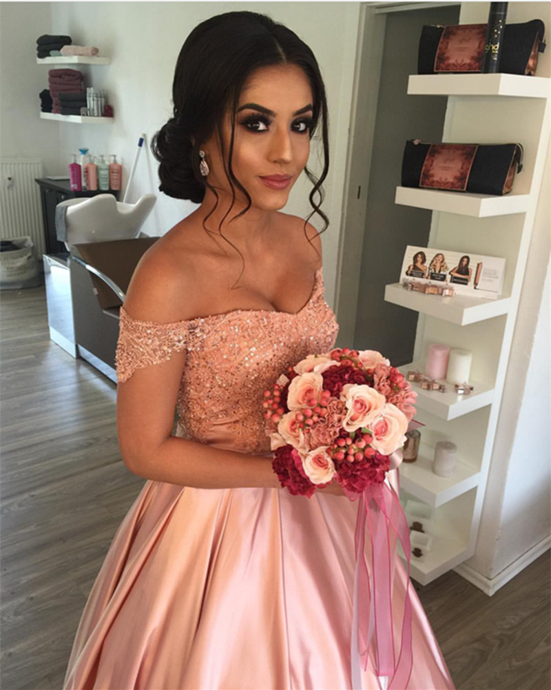 Elegant Lace Off Shoulder Pink Satin Wedding Prom Dresses