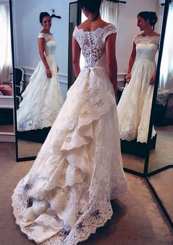 df2fcd7029a Vintage Scoop Neckline Lace Wedding Dresses Bustle Style 2016 Bridal Gowns