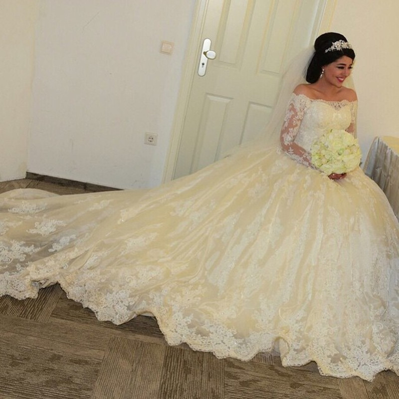 Off The Shoulder Lace Wedding Dresses Long Sleeves Bridal Gowns 2016