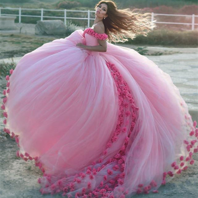 Flower Wedding Ball Gown Dresses,Pink Wedding Dresses,Wedding ...