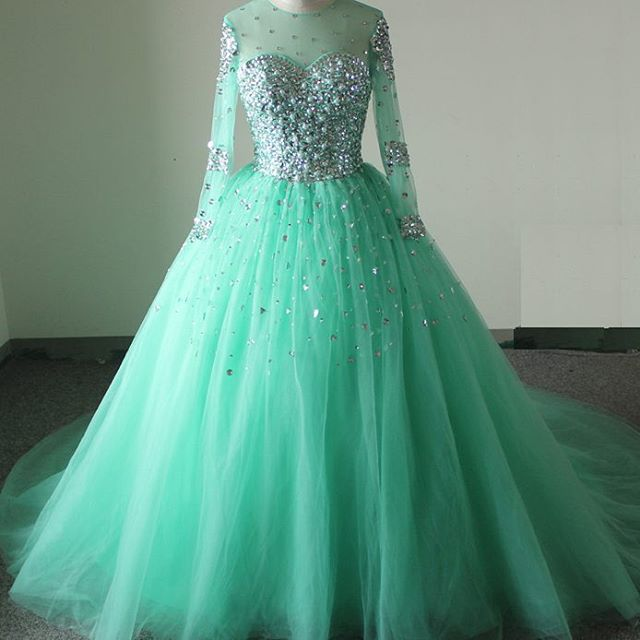 Real Sample, Custom Made ,mint Green Prom Dresses,long Sleeves Prom ...