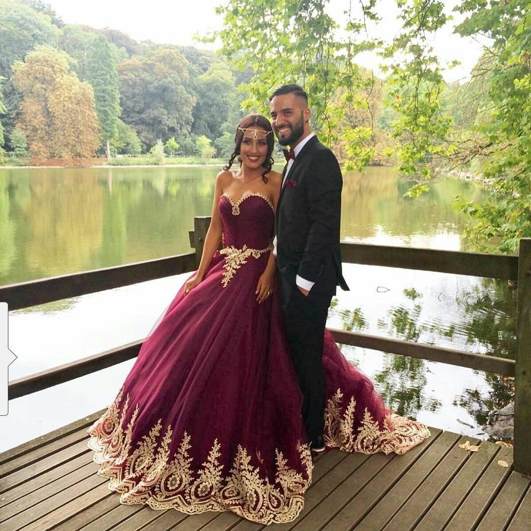 Burgundy Wedding Dresswine Red Ball Gownsgold Lace Bridal Dress