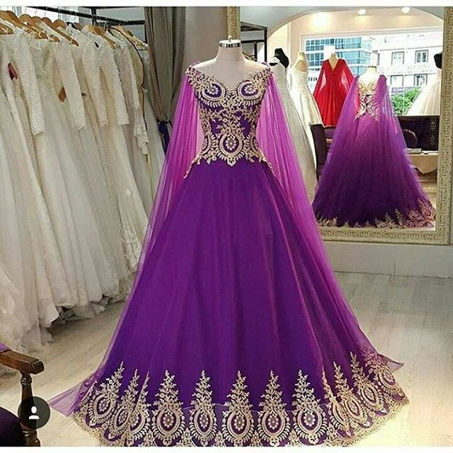 Elegant V Neck Purple Prom Dresses Ball Gowns With Lace Appliques 2016