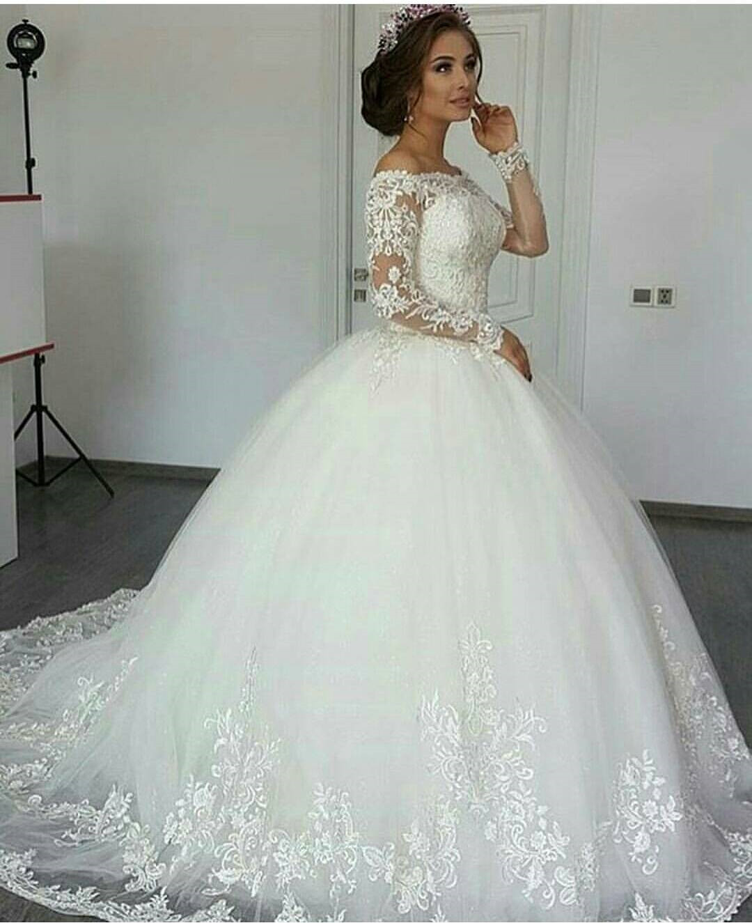 Romantic Lace Long Sleeves Ball Gowns Wedding Dresses 2017 Princess ...