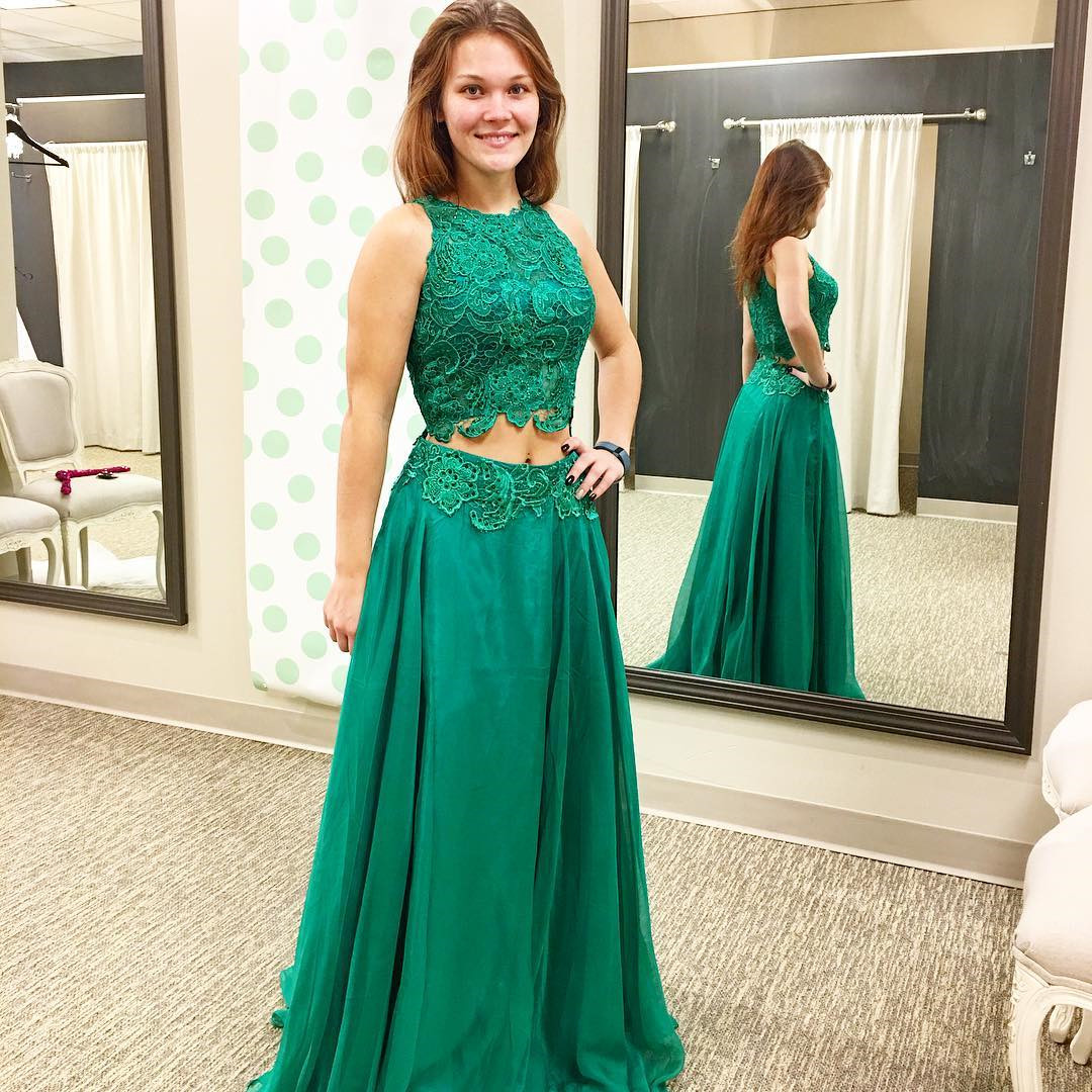 Green Prom Dress,two Piece Prom Dresses,2 Piece Prom Gowns,prom ...