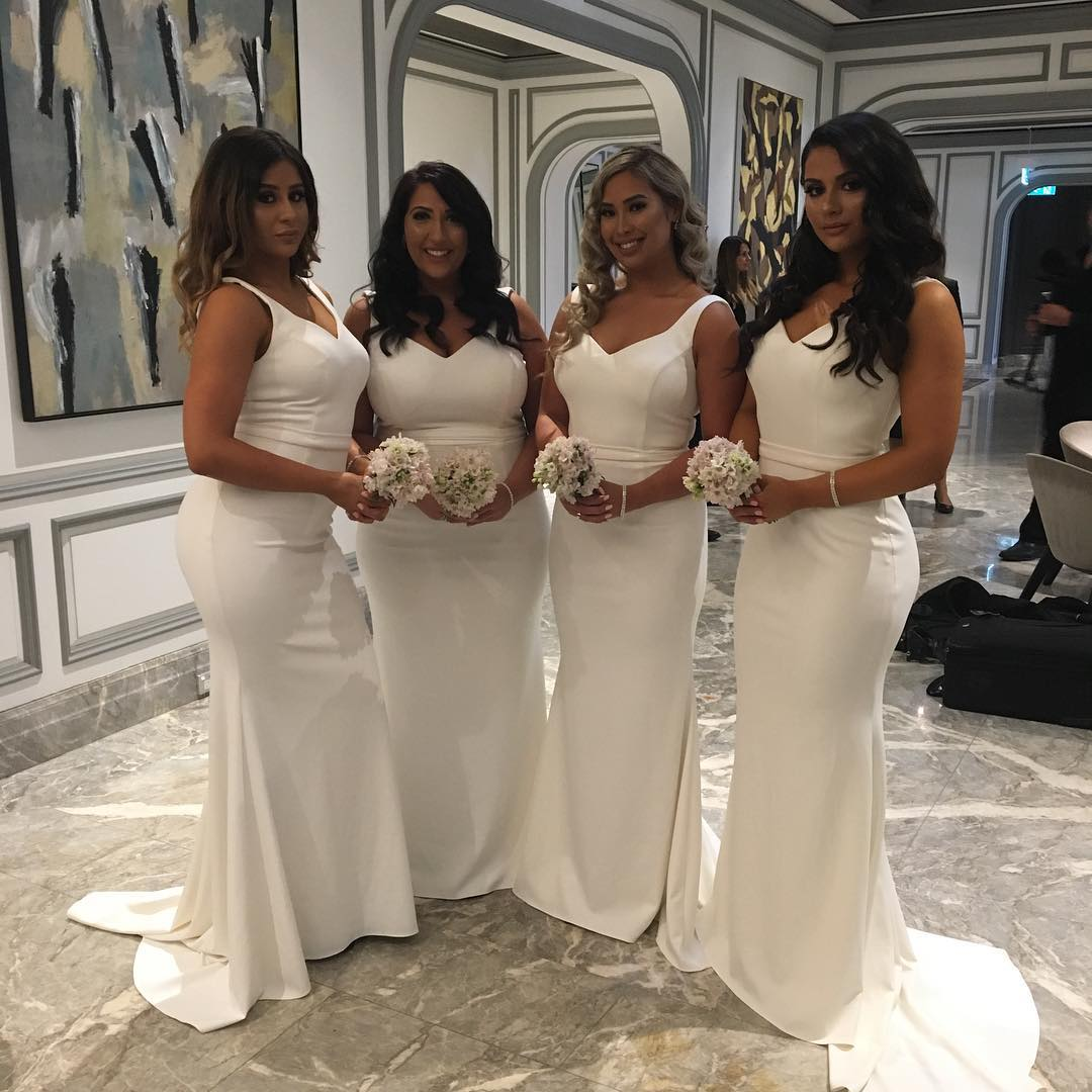 Sexy v neck white jersey mermaid dress long bridesmaid dresses sexy v neck white jersey mermaid dress long bridesmaid dresses 2017 ombrellifo Images