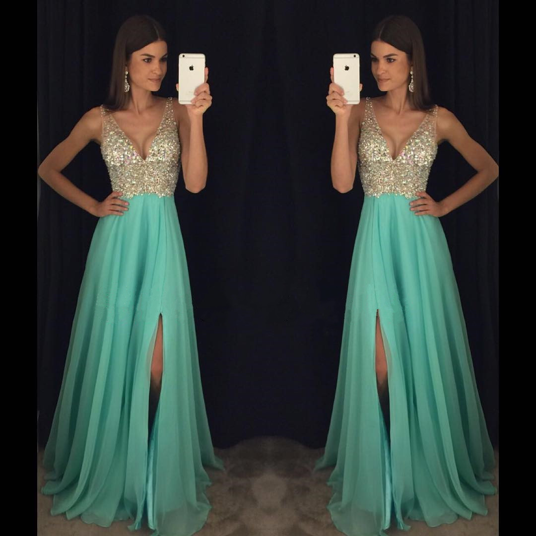 sparkly crystal beaded v neck open back long chiffon prom dresses 2017 pageant evening gowns with leg slit