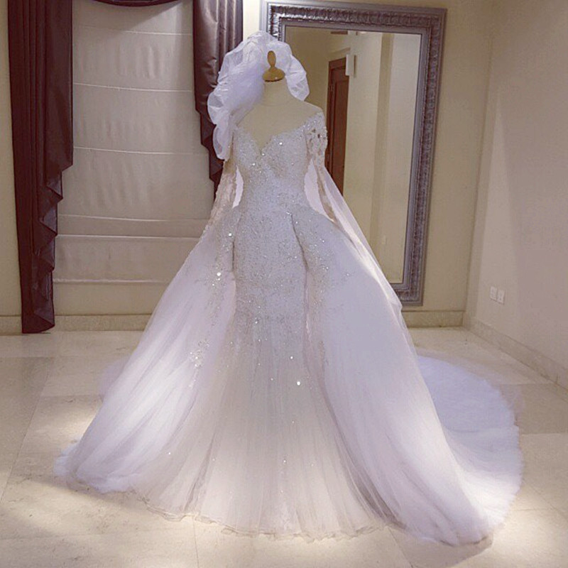 Long Sleeves Lace Mermaid Wedding Dresses Removable Skirt 2017