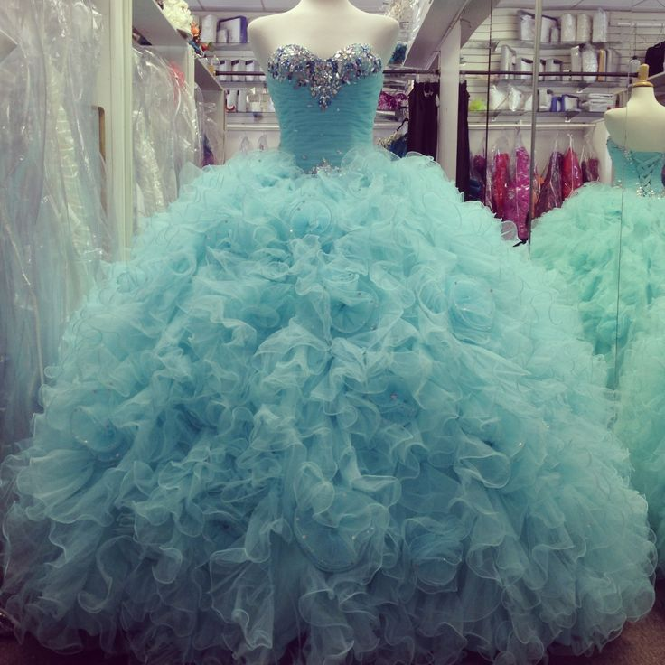 Gorgeous Beaded Sweetheart Organza Ruffles Ice Blue Quinceanera ...