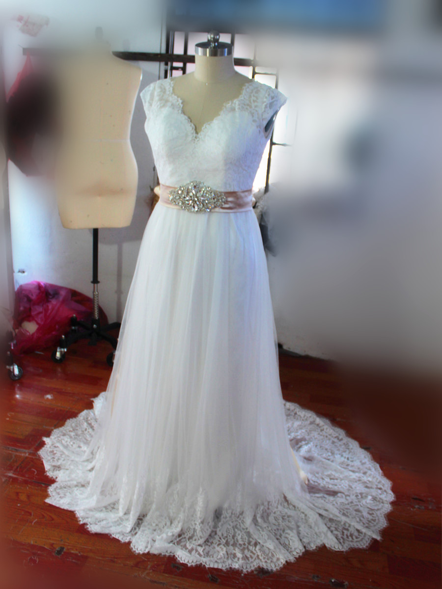 d0a1d7ccd0b vintage lace cap sleeves v neck tulle wedding dress with champagne sashes  2017 real sample custom