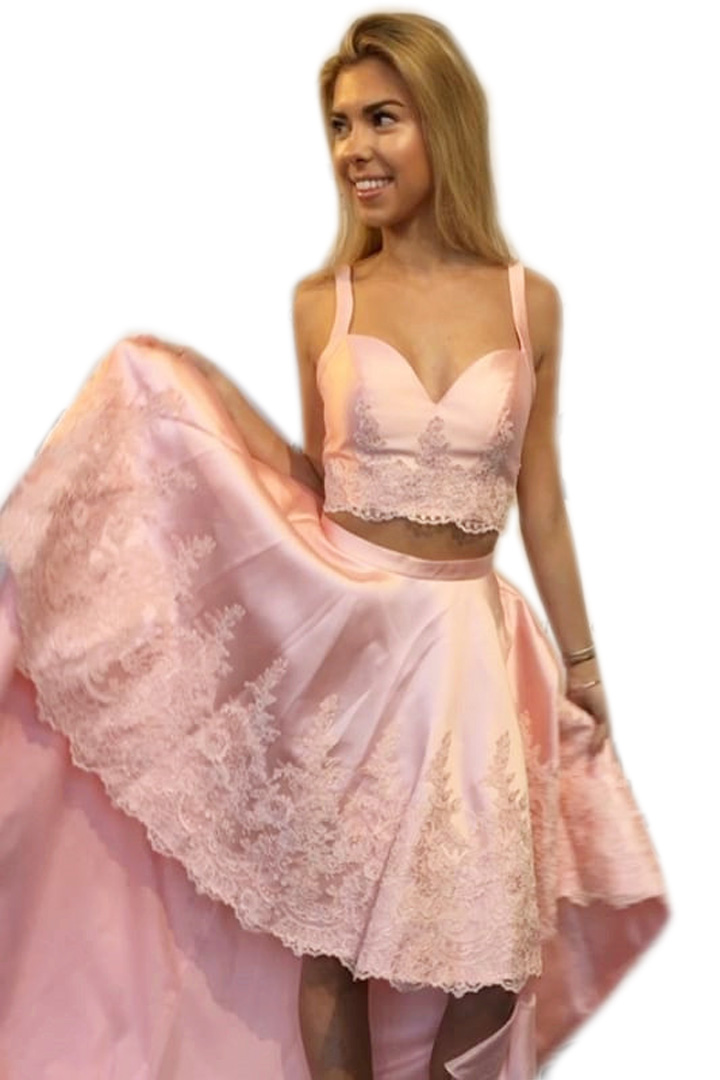 Pink Prom Dressestwo Piece Prom Dresses2 Piece Prom Gownshigh Low