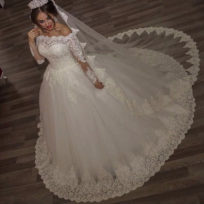 Off The Shoulder Lace Wedding Dresses Ball Gownsvintage Gownslong Sleeves Bridal Dresswedding Dress 2017