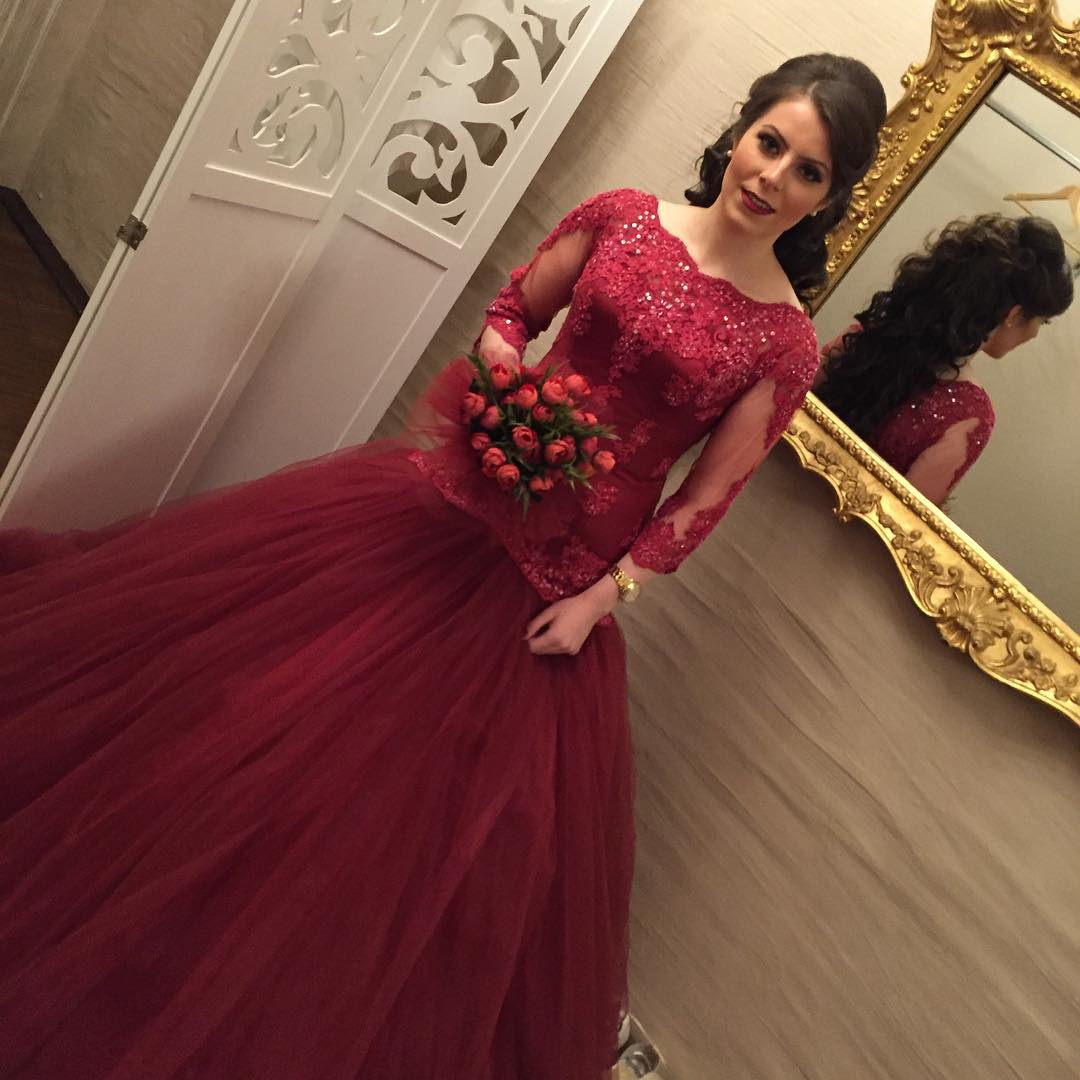 Modest 3 4 Sleeves Wedding Dress Mermaid Gowns Burgundy Lace Dresses