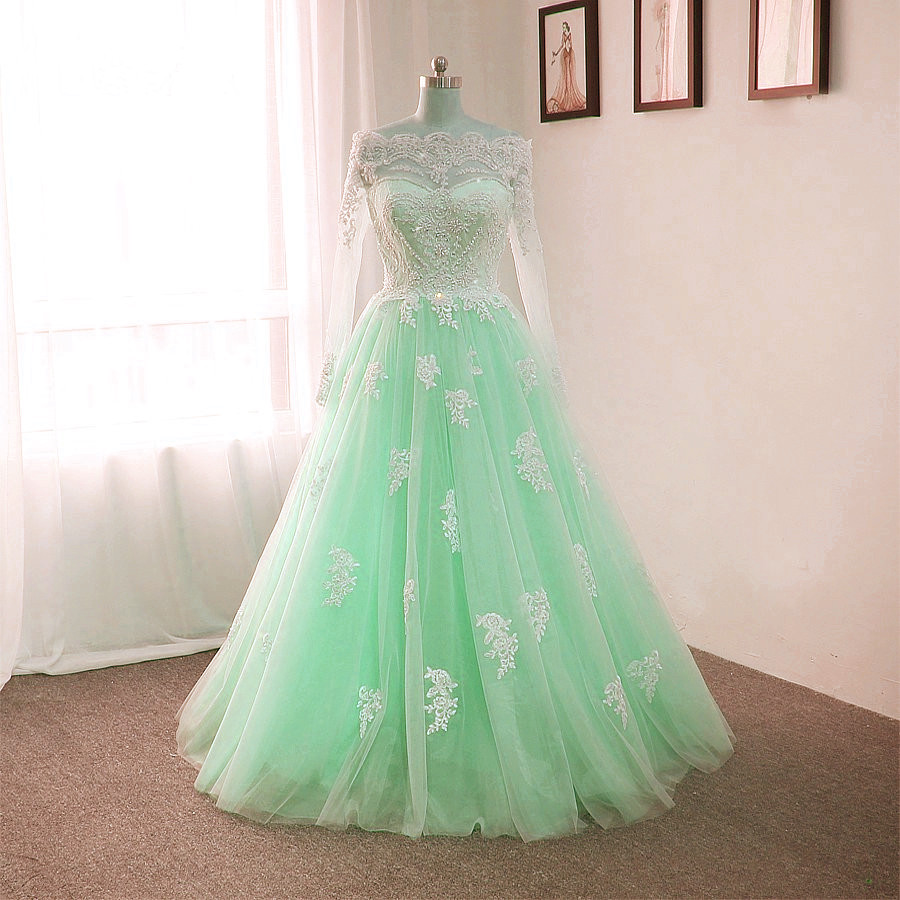 mint green wedding dresses,ball gowns wedding dresses,wedding dresses lace  appliques,romantic bride dresses