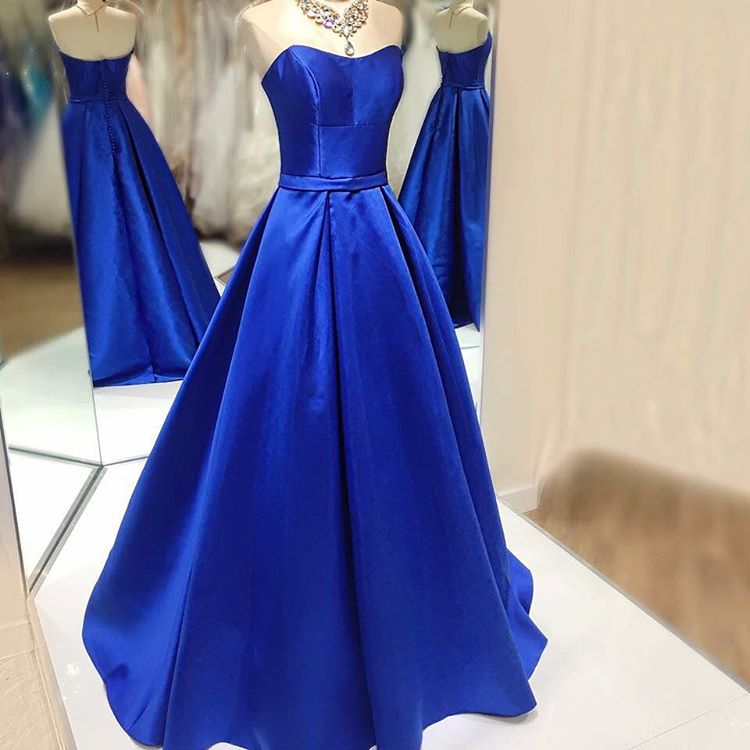 Royal Blue Satin Ball Gowns Prom Dresses Long Strapless Evening ...