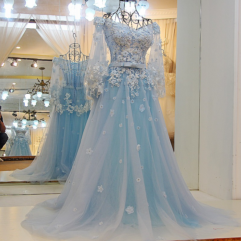 Light Blue Wedding Dresses,Lace Wedding Gowns,Elegant Prom Dress ...