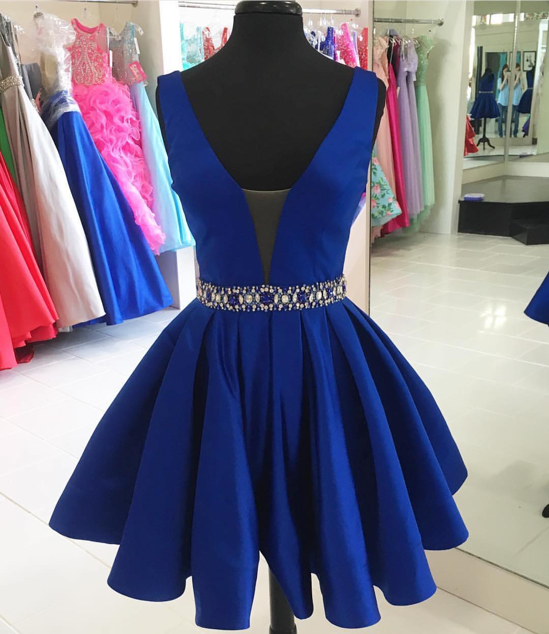 6a34a1bea89f sexy v neck prom short dresses, satin gowns,royal blue homecoming dress, short cocktail dress