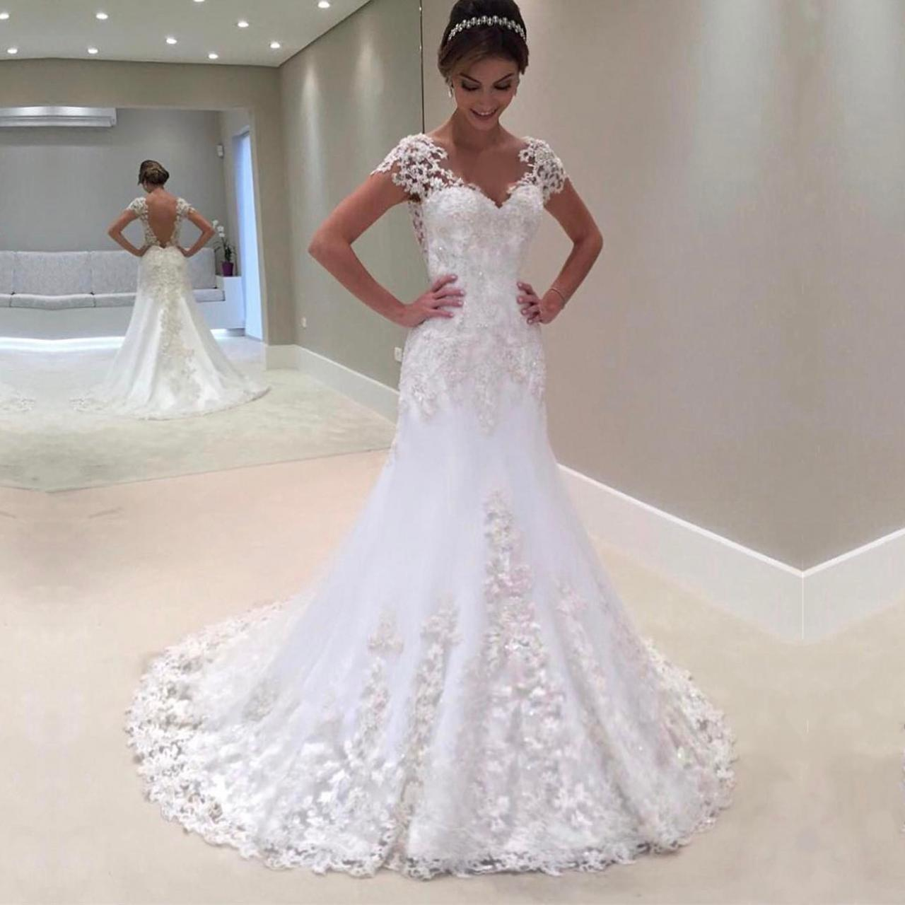 short sleeves wedding dress,vintage wedding gowns,lace mermaid wedding dresses 2017,sexy wedding gowns