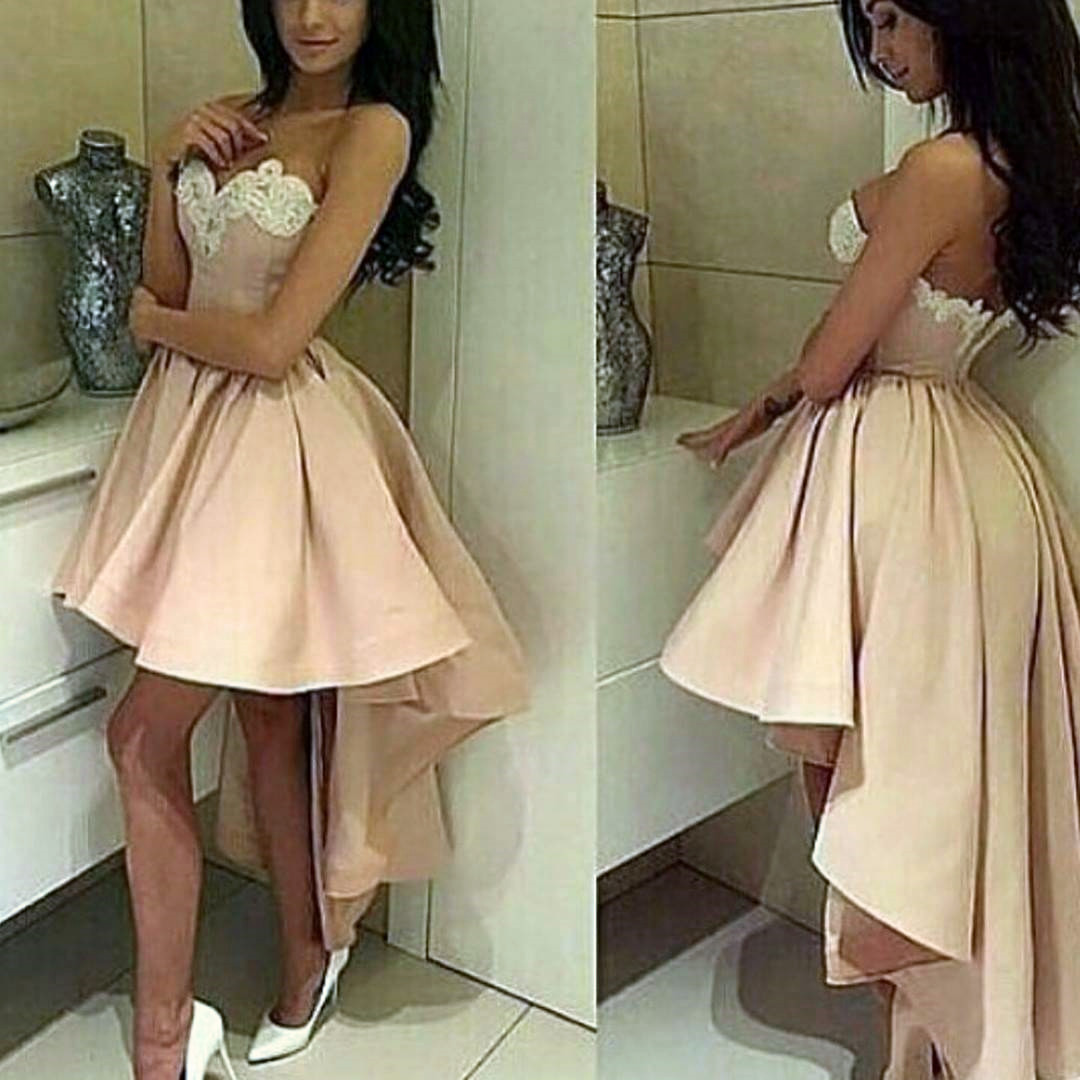 cute party dress,pink prom dress,high low prom dress,asymmetric prom dresses,satin party dress