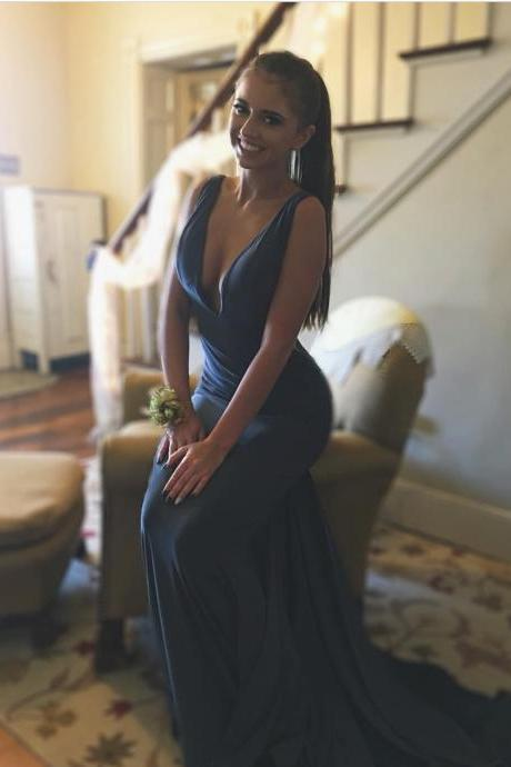 gray prom dress,v neck dress,mermaid formal dress,sexy long evening gowns