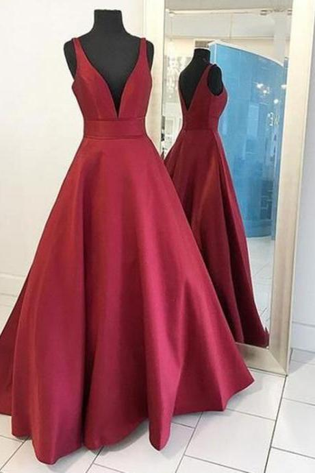 v neck prom dress,satin prom dress,ball gowns prom dress,sexy prom dress long 2017