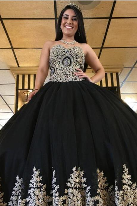 black prom dress,ball gowns prom dress,gold lace appliques quinceanera dress,sweet 16 dresses