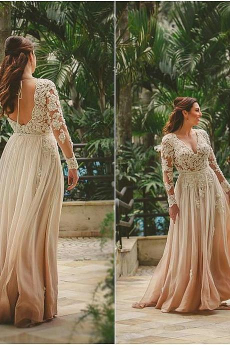 chiffon evening dress,long sleeves evening dress,mother of the bride lace dress,elegant prom gowns