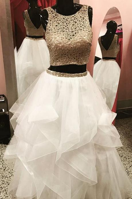 two piece prom dress,white ball gowns ,gold embroidery dress, 2 piece prom dress,prom gowns 2017