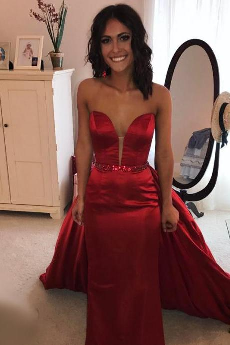 red mermaid dress,sweetheart dress,satin gowns,mermaid evening dress,prom dress 2017